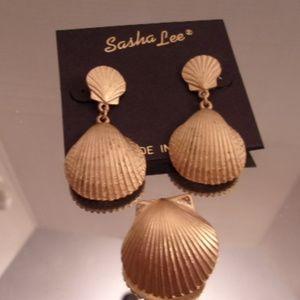 Sasha Lee Shell Earrings & Pendant. L43-5